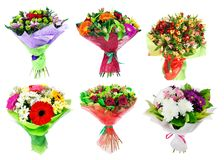 Set of Bouquet of colorful flowers isolated. On white background Stock Photo