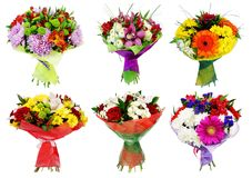 Set of Bouquet of colorful flowers isolated. On white background Stock Photos