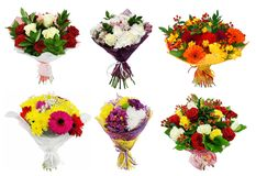 Set of Bouquet of colorful flowers. Isolated on white background Royalty Free Stock Photography