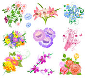 Set a bouquet of flowers Stock Image
