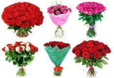 Set of bouquet of red and white roses. Isolated Royalty Free Stock Photography