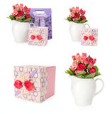 Set a bouquet of roses with gift box Stock Photos
