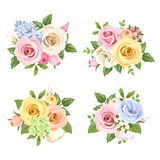 Set of bouquets of colorful roses and lisianthus flowers. Vector illustration. Stock Photo