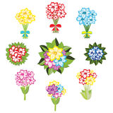 Set of bouquets of flowers Stock Images