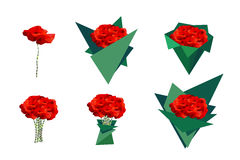 Set bouquets of poppies. Royalty Free Stock Photos