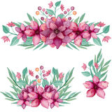 Set Of Bouquets With Watercolor Deep Pink Flowers And Leaves Stock Image