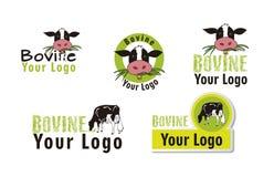 Set bovine logos. Logos Bovine, cow, farm, agriculture, milk Stock Photos