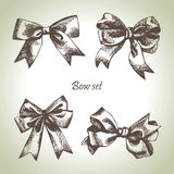Set of bow. Hand drawn illustrations of ribbons Royalty Free Stock Images