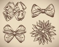 Set of bow doodle Royalty Free Stock Image