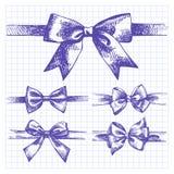 Set of bow. Hand drawn illustrations of ribbons Royalty Free Stock Image