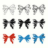 Set of bow. Hand drawn illustrations of ribbons Stock Images