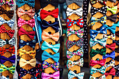 Set of bow-ties. Collection set of colorful ribbon bows on the market. Stock Photography