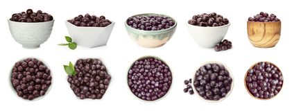 Set of bowl with acai berries. On white background. Organic superfood stock photos