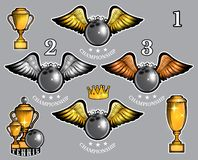 Set of bowling ball with wings cups and crown. Vector sport logo for any team. And championship stock illustration