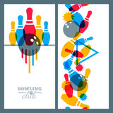 Set of bowling banner, poster, flyer or label design elements. Stock Photography