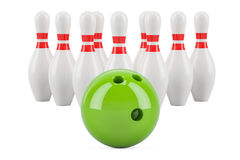 Set of bowling concept, 3D rendering. Isolated on white background Royalty Free Stock Photography