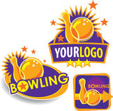 Set of Bowling Emblem/Signs. Set of Template Bowling Signs Including Vector Format stock illustration