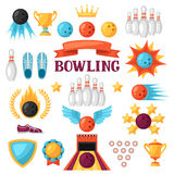 Set of bowling game items. Objects for decoration, design on advertising booklets, banners, flayers Royalty Free Stock Images