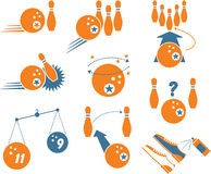 Set of Bowling Icons. Including Vector Format vector illustration
