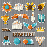 Set of bowling items. Objects for decoration, design on advertising booklets, banners, flayers.  Royalty Free Stock Photo