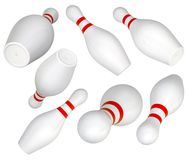 Set of Bowling Pin. Isolated on white. 3d illustration Royalty Free Stock Photography