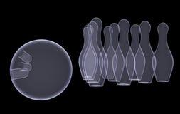 Set of bowling pins and ball Royalty Free Stock Photo