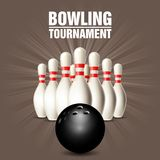 Set of bowling skittles and bowling ball. Poster Royalty Free Stock Image
