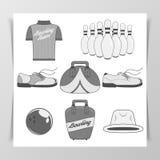 Set of Bowling vintage Design Elements Royalty Free Stock Image