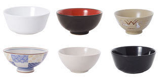 Set of bowls. Collection of empty bowls on the white background royalty free stock image