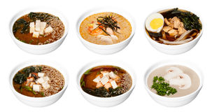 Set of bowls with asian soups isolated on white Stock Photography
