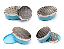 Set of bowls grater isolated on white stock photos