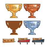 Set of bowls, illustration, game elements Stock Images