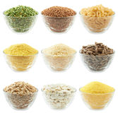 Set of bowls wiht different food. Set of bowls with different food Stock Photo