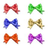 Set of bows. Bow made in six different colors. Vector, eps 10 stock illustration