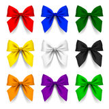 Set of bows in different colors isolated on white background Stock Photos