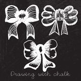 Set of bows drawn with chalk vector Royalty Free Stock Image