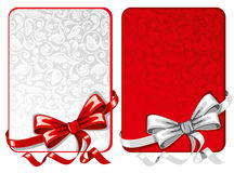 Set of bows with greeting cards Stock Images