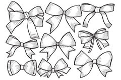Set of bows, hand drawn Stock Photography