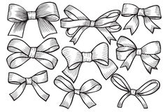 Set of bows, hand drawn Stock Images