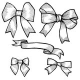 Set of bows, hand drawn Stock Photo