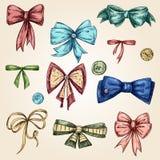 Set of bows, hand drawn Stock Image