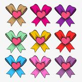Set of bows with hearts Royalty Free Stock Photo