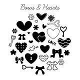 Set of bows and hearts Royalty Free Stock Photo