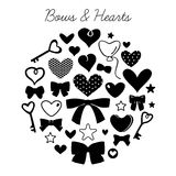Set of bows and hearts Royalty Free Stock Photography