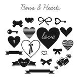 Set of bows and hearts Stock Image
