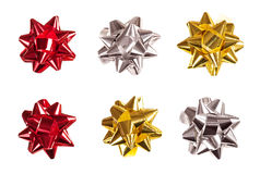 Set of bows made of shiny ribbon Stock Photography