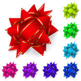 Set of bows of multicolored ribbons Royalty Free Stock Images