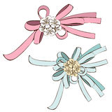 Set of bows, pink bow and blue  with white flowers. Painted decorative element, hand-drawing, cartoon detail, nice Royalty Free Stock Images