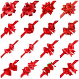 Set of bows with ribbons arranged diagonally. Set of realistic beautiful red bows with ribbons arranged diagonally with shadows Royalty Free Stock Photography