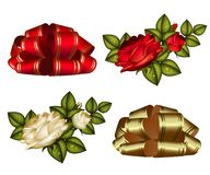 Set of bows and roses Royalty Free Stock Photos